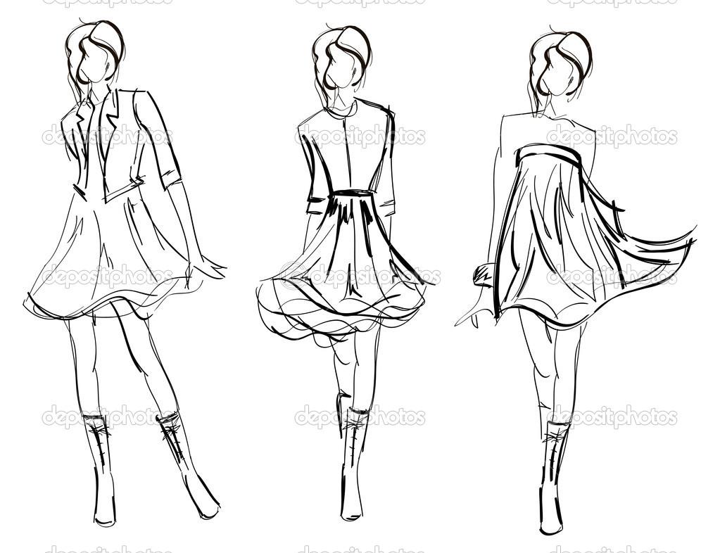 1023x786 Model Girl Drawing Hand Drawn Fashion Model.