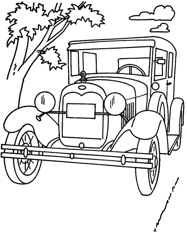 600x744 Ford Classic Model T Car Coloring Pages Color Luna