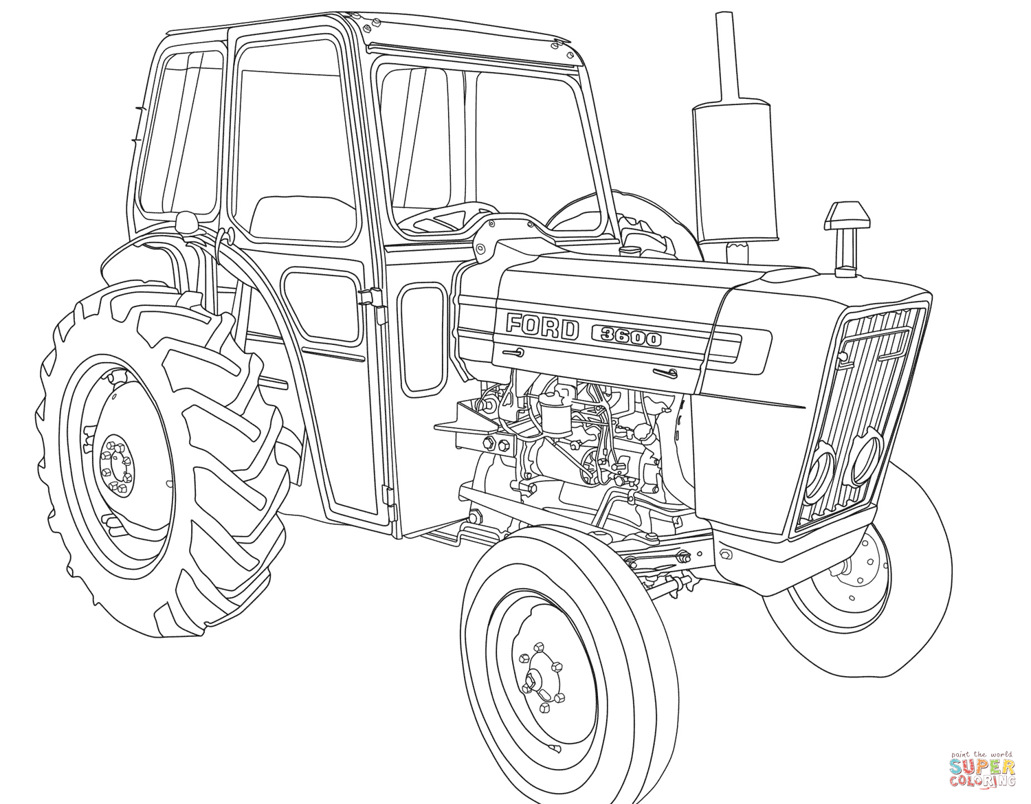 1500x1170 Tractor Ford 3600 Coloring Page Free Printable Coloring Pages