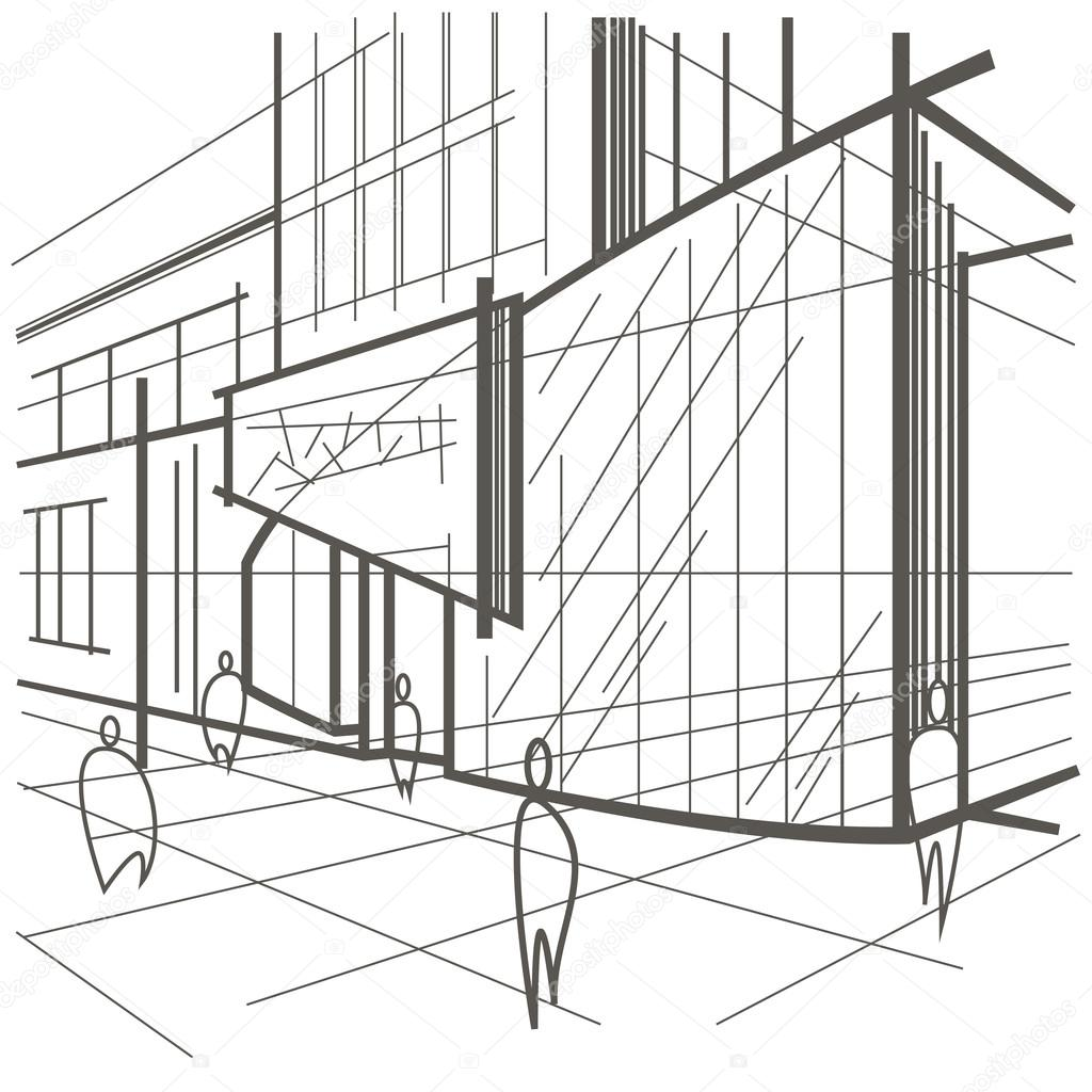 1024x1024 Architectural Linear Sketch Modern Building, Fragment Of Street