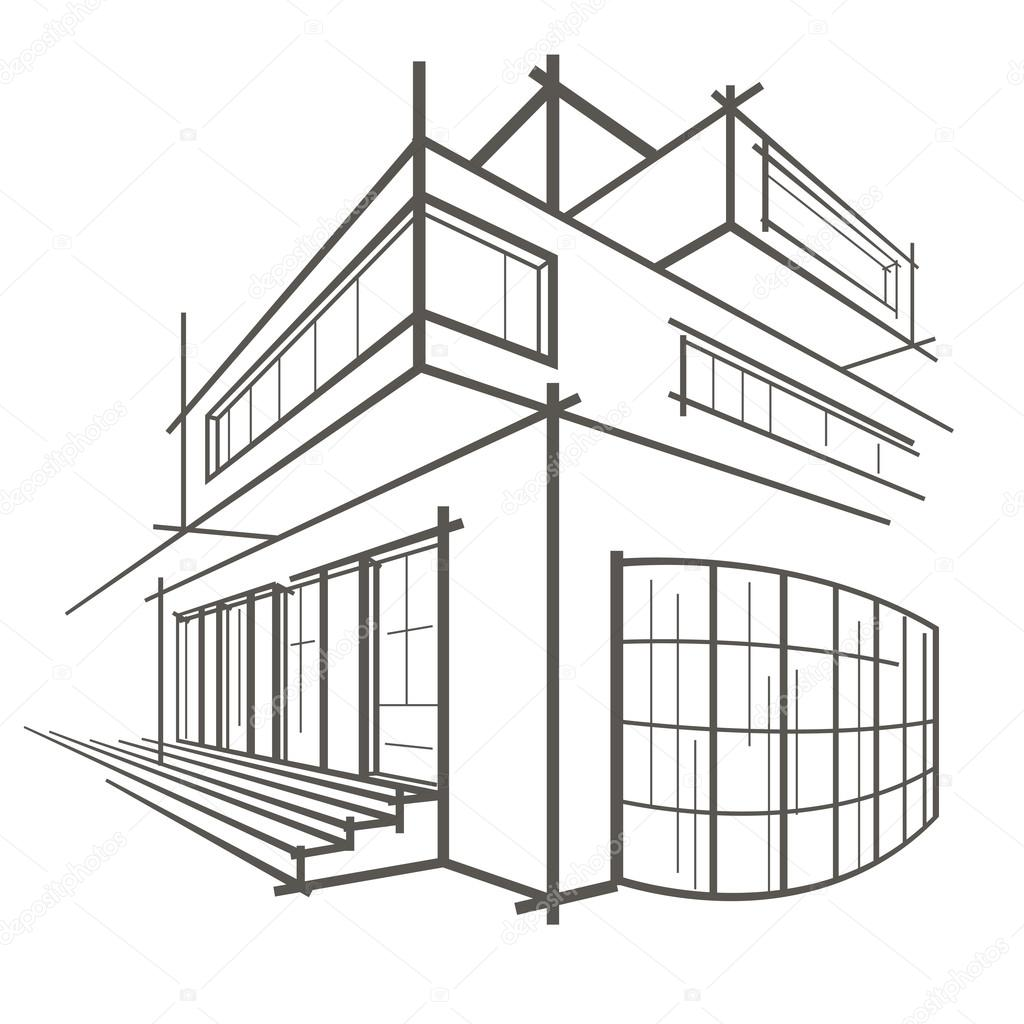1024x1024 Architectural Linear Sketch Modern Building On White Background