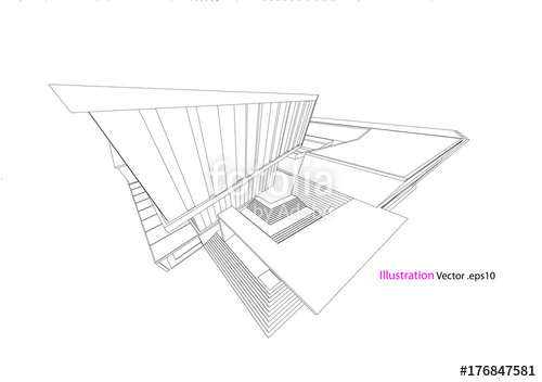 500x352 Architecture Drawing Modern Structure Steel Vector Stock Image