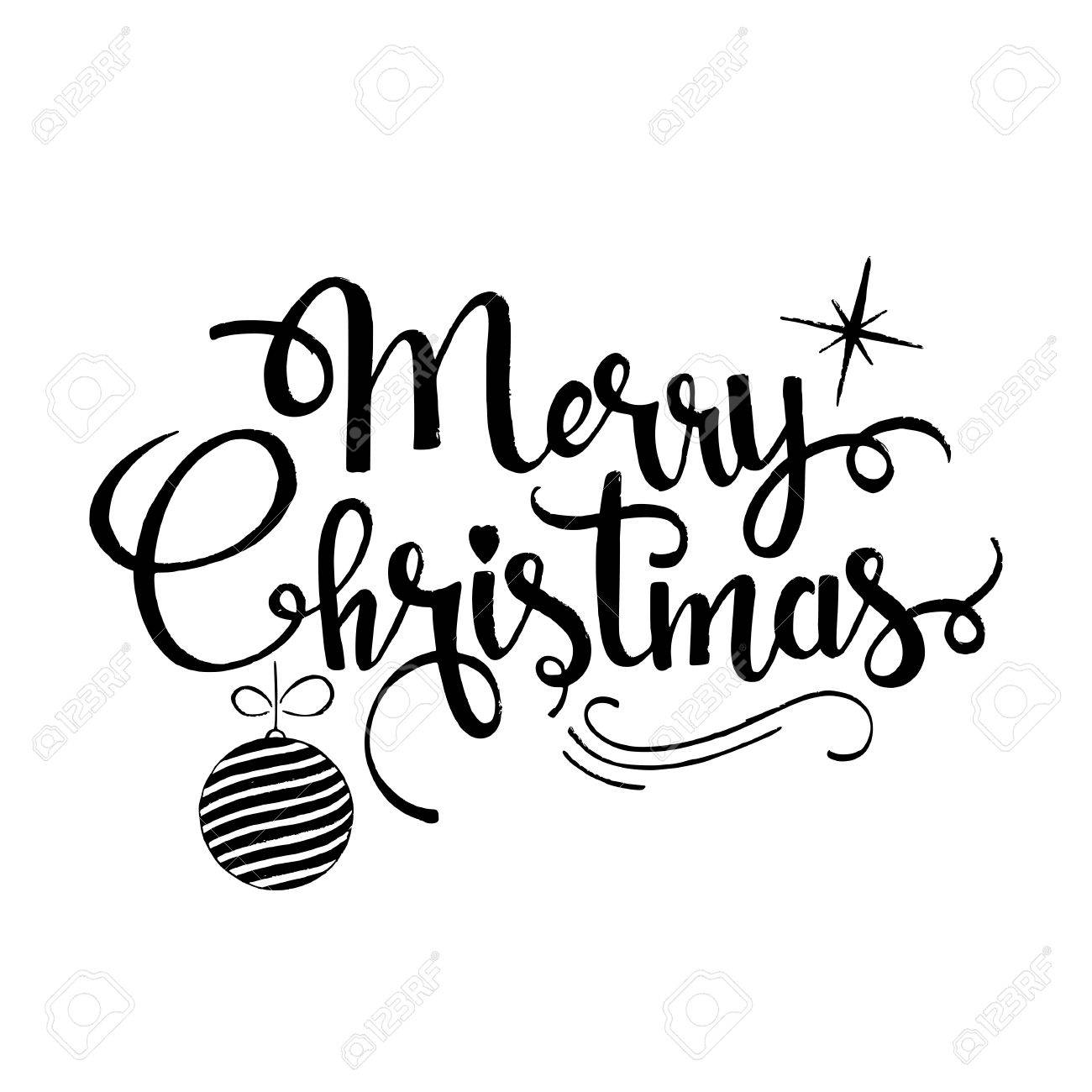 1300x1300 Merry Christmas Lettering. Modern Hand Drawn Calligraphy