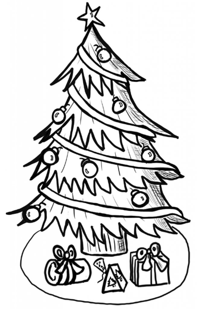 653x1024 Christmas Tree With Presents Drawing Christmas Tree With Gifts