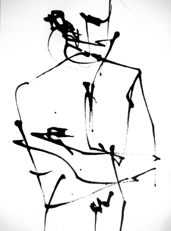 570x771 5x7in Abstract Expression Intuitive Drawing Modern Minimal Elegant