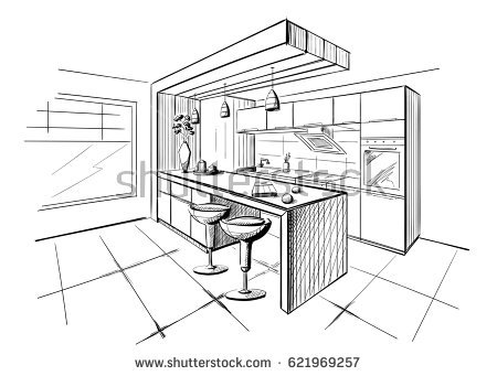 450x341 Kitchen Excellent Kitchen Room Drawing Gorgeous Stock Vector