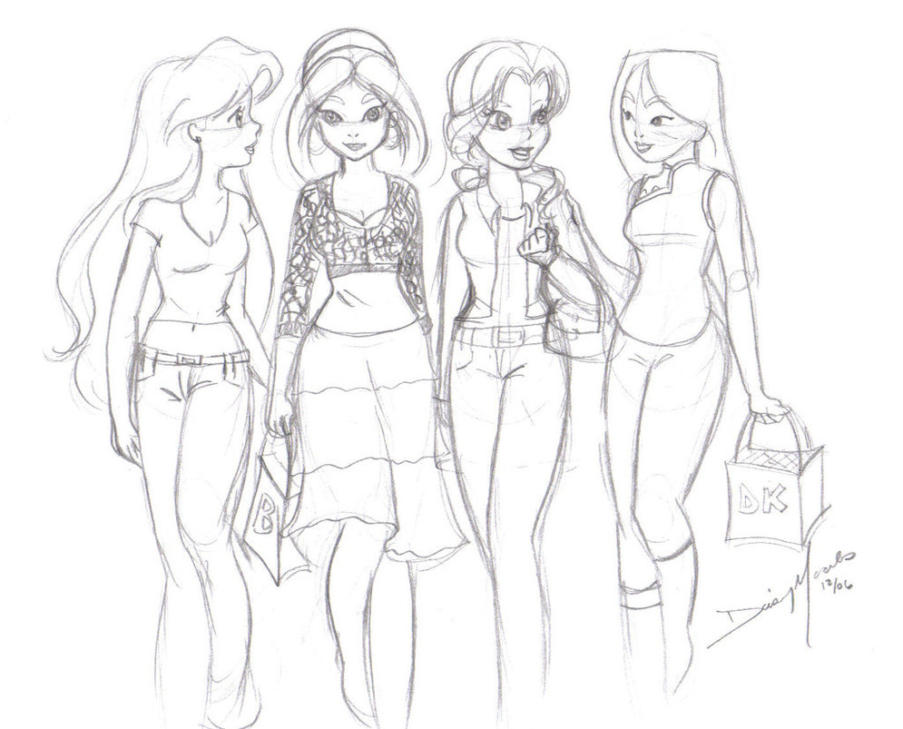 995x803 Modern Day Princesses Sketch By Jupta