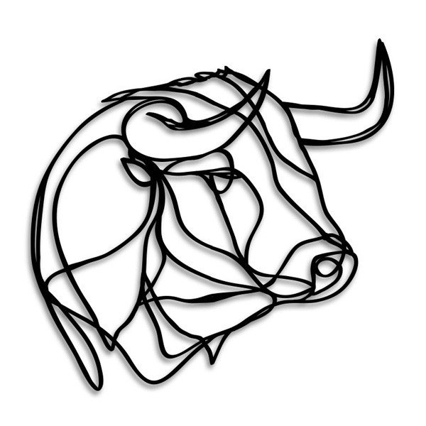 600x600 Bull Head Wooden Wall Art