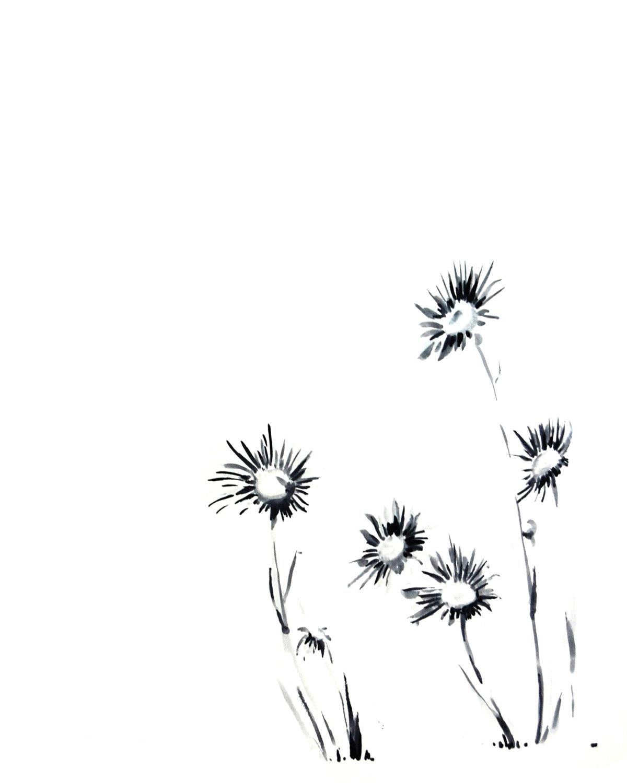 1200x1500 Daisy Flowers, Drawing Art, Art Print, Black And White, Minimalist