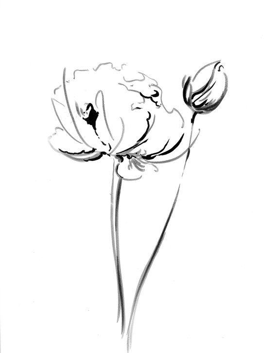570x726 Flowers Ink Drawing Art Print, Minimalist Abstract Modern Black