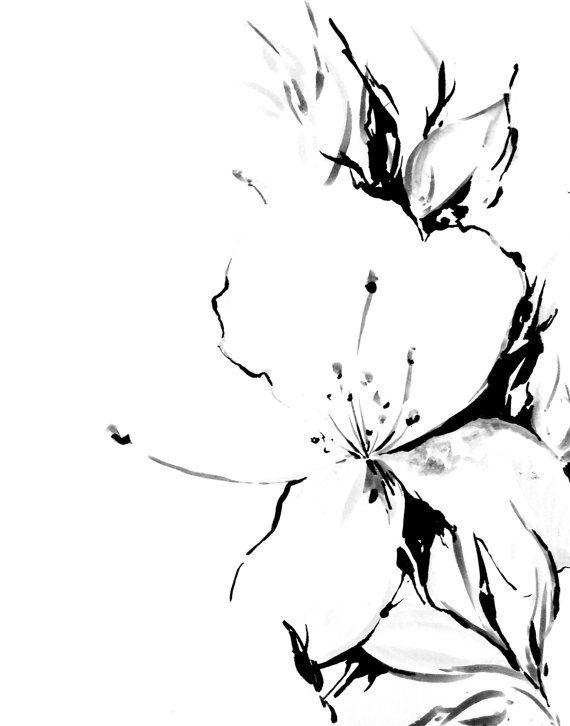 570x726 Jasmine Minimalist Art Print, Black And White Ink Drawing