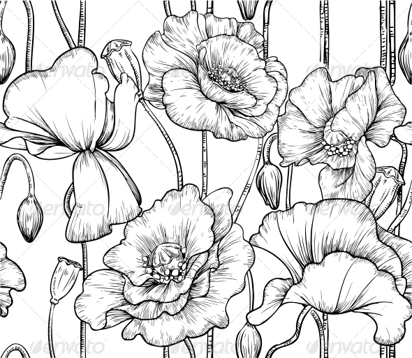590x513 Seamless Pattern Of Black And White Poppies By Azuzl Graphicriver