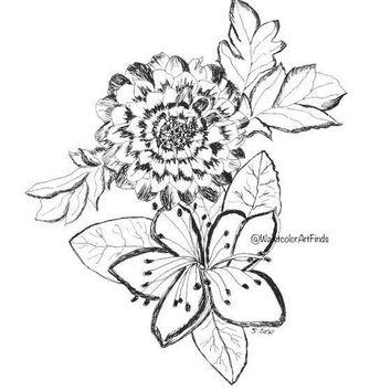 354x354 Shop Flower Ink Drawings On Wanelo