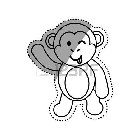 450x450 4,096 Black White Monkeys Stock Illustrations, Cliparts