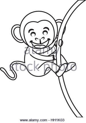 300x432 Cute Mokey Cartoon Icon Vector Illustration Graphic Design Stock