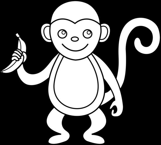 550x496 Cute Monkey Line Art
