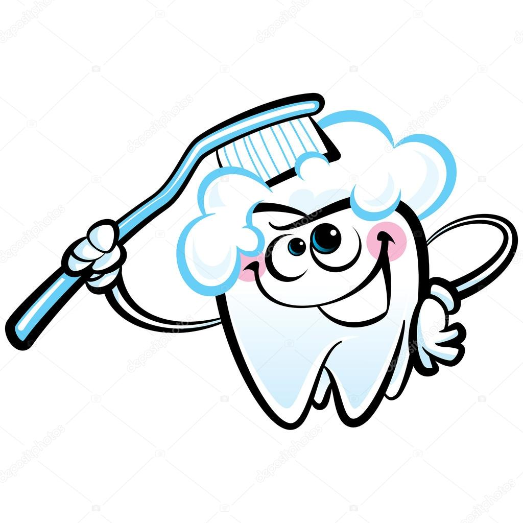 1024x1024 Happy Cartoon White Molaroth Character Washing With Dental