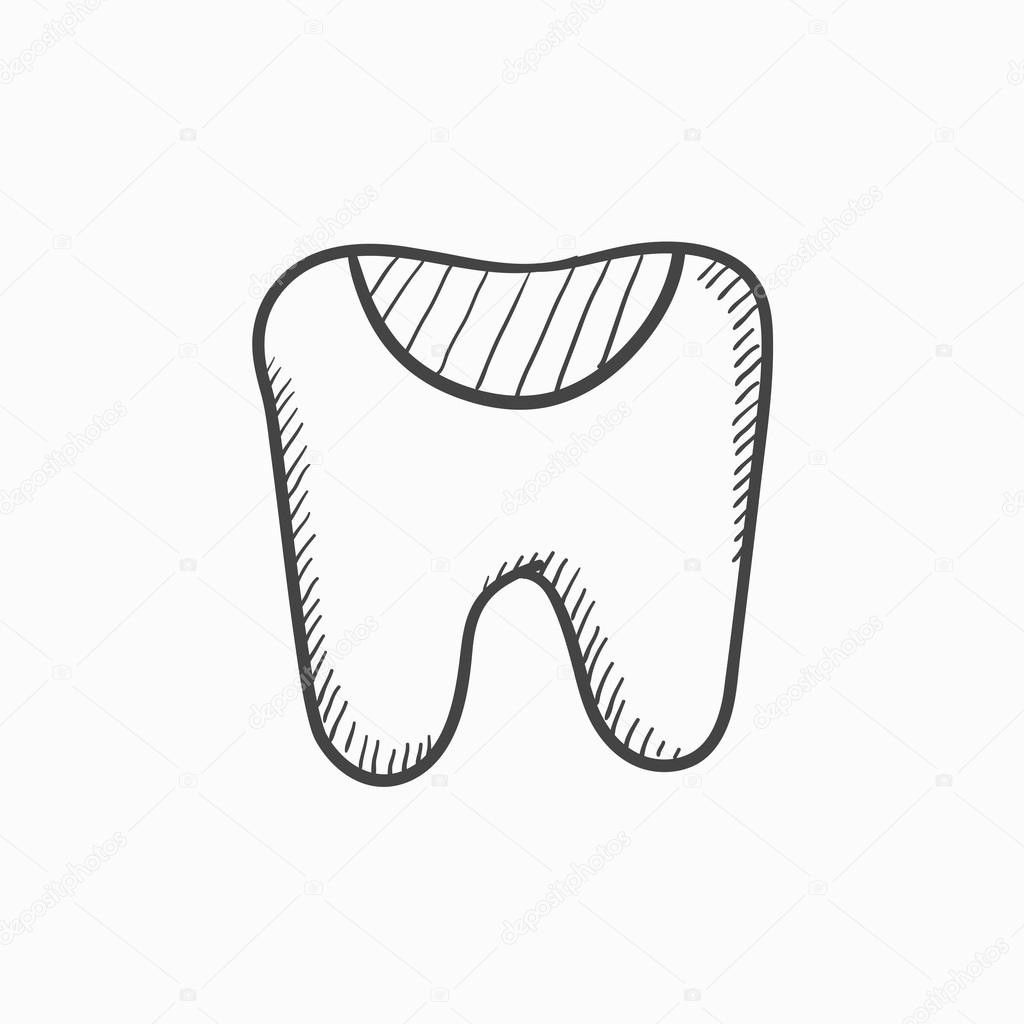 1024x1024 Tooth Decay Sketch Icon. Stock Vector Rastudio