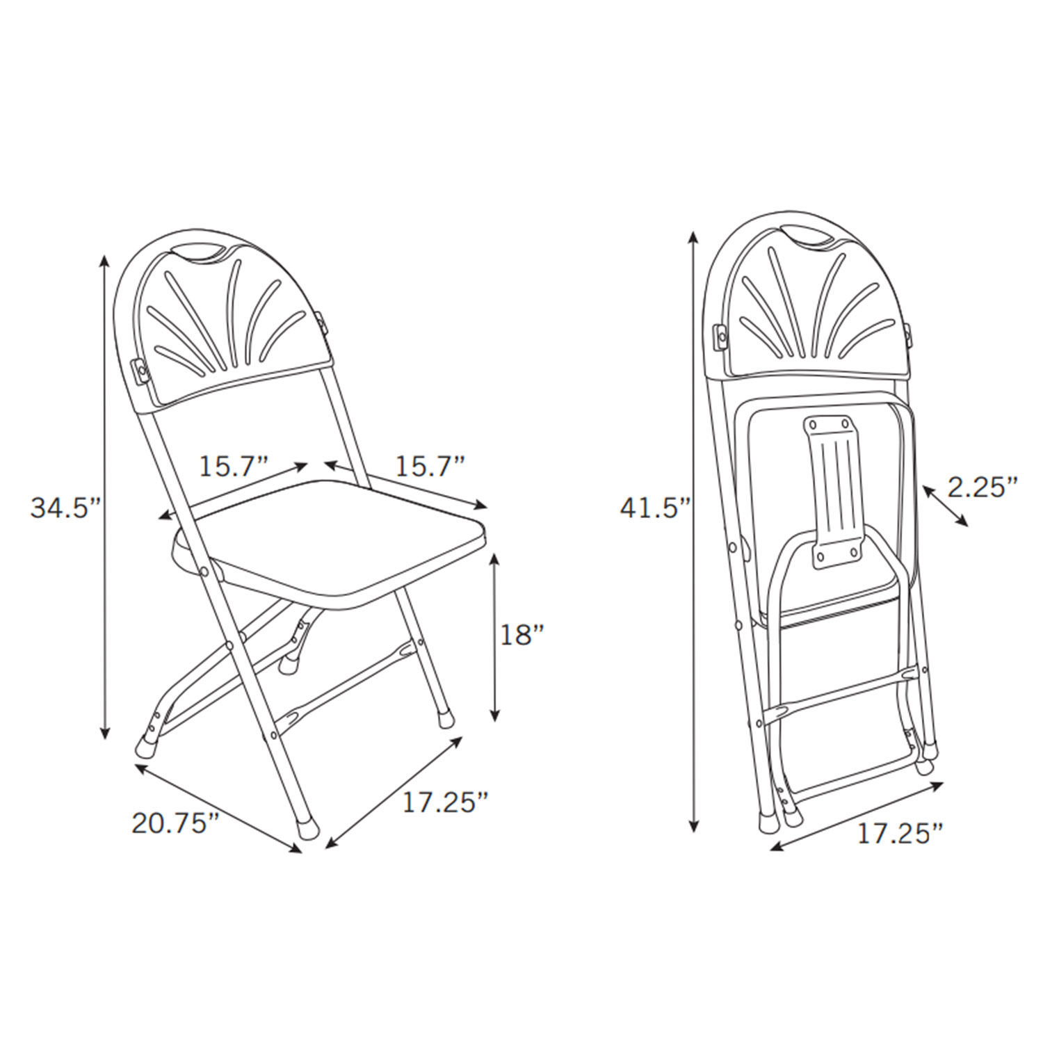 1500x1500 Samsonite 2000 Series Injection Mold Fanback Folding Chair (Case10)