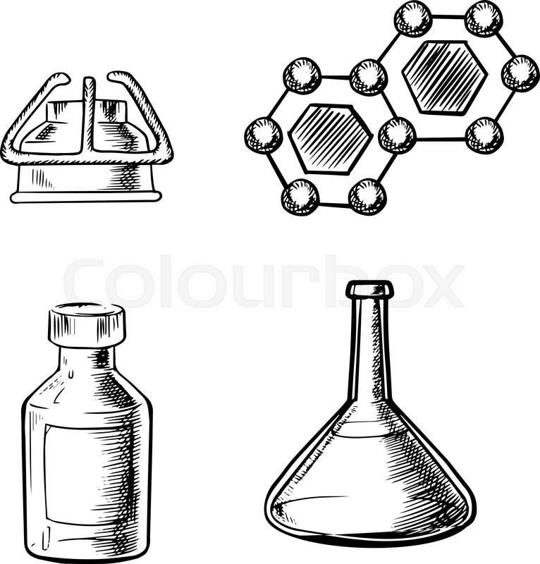 766x800 Laboratory Flask, Gas Burner, Bottle And Formula Of Molecule Icons