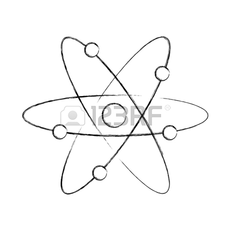 450x450 Atom Molecule With Magnifying Glass Vector Illustration Design