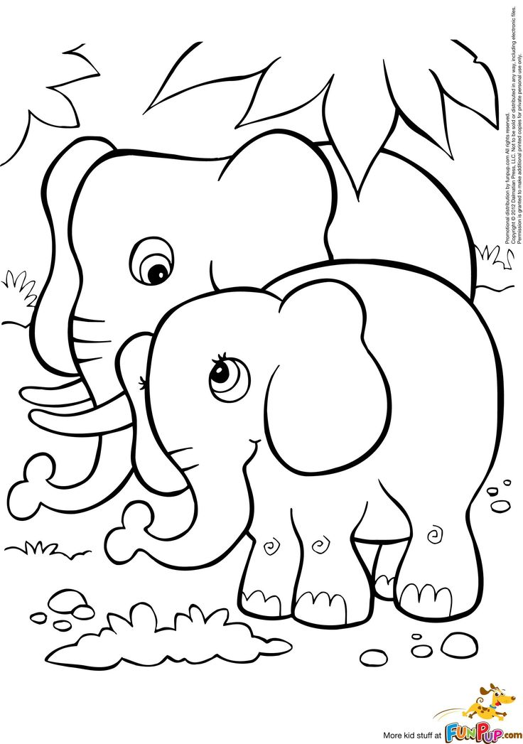 Mom And Baby Elephant Drawing