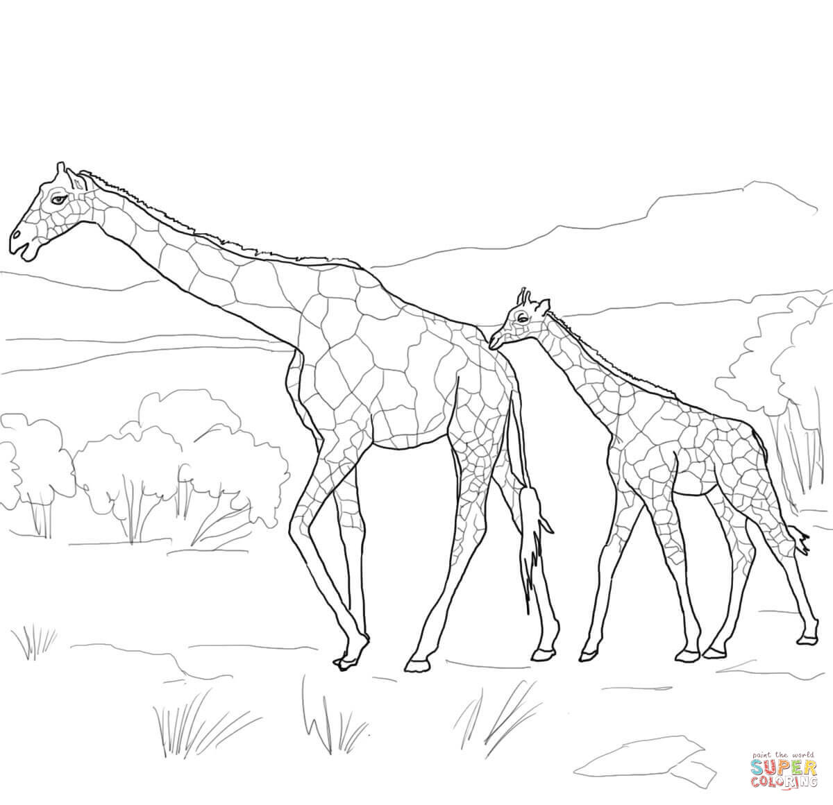 1200x1160 Mother And Baby Giraffe Coloring Page Free Printable Pages