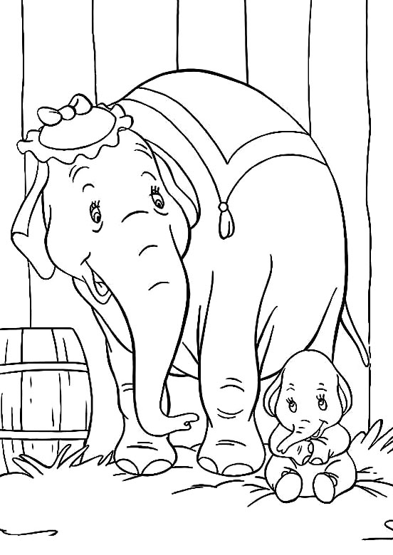 552x780 Baby Dumbo With Mother Coloring Pages