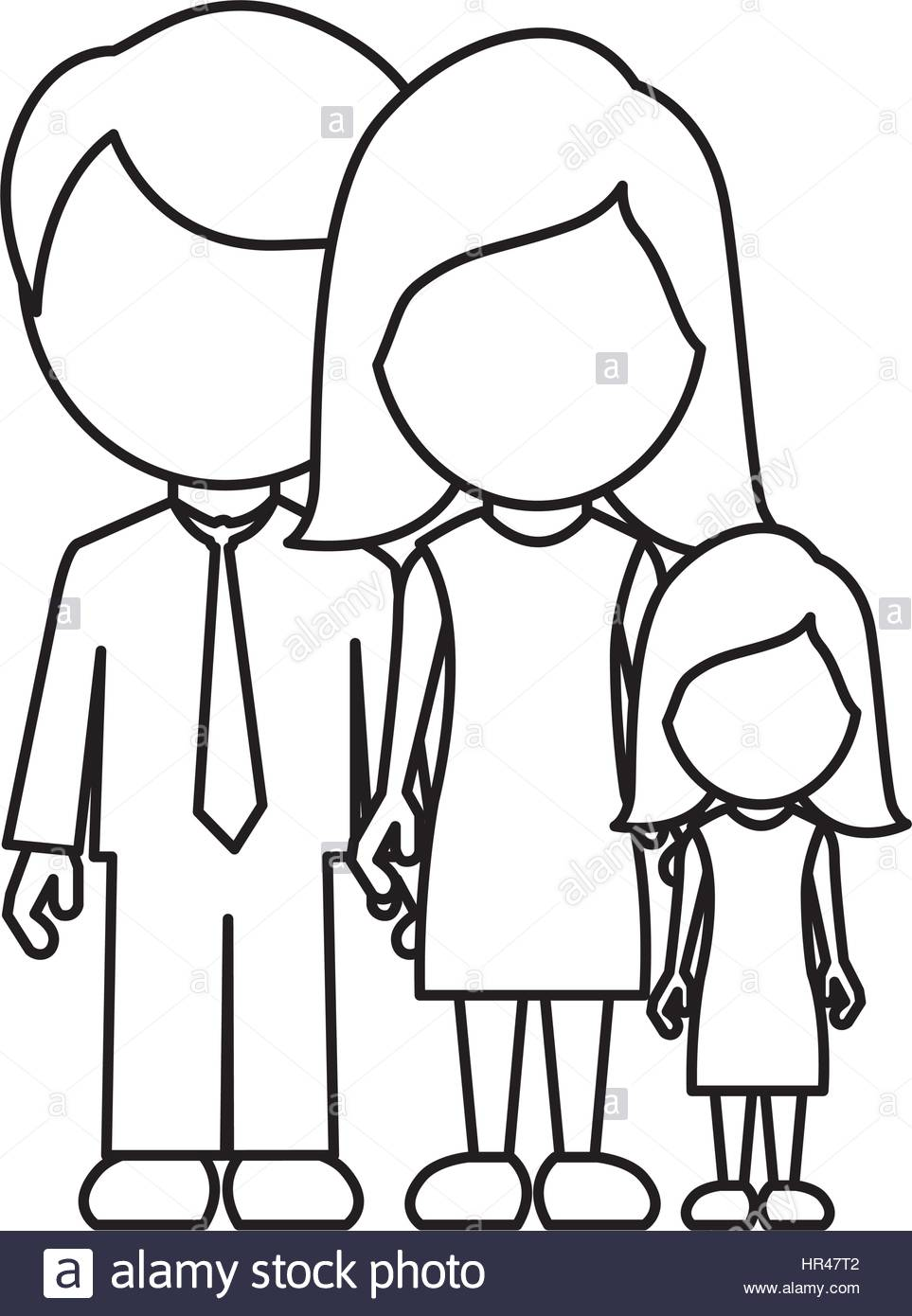 963x1390 Monochrome Contour Faceless With Dad Mom And Daughter In Formal