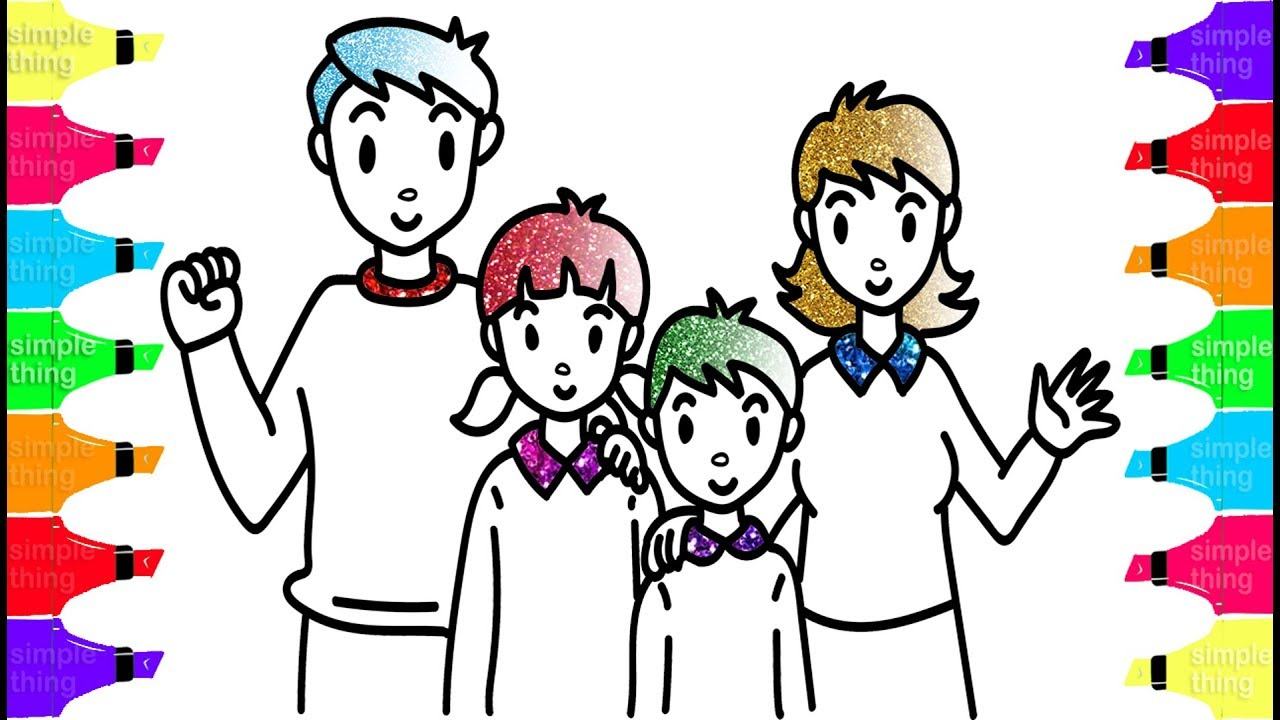 1280x720 How To Draw Dad, Mom, Brother And Sister Learn Colors With Happy