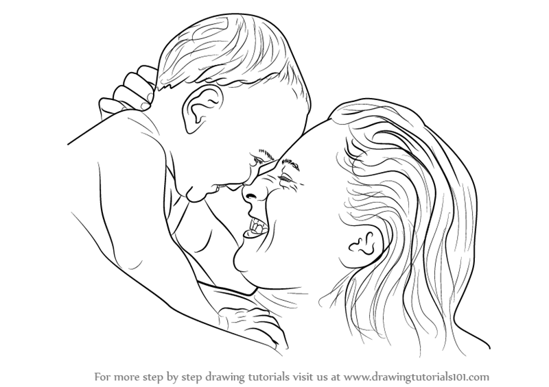 800x565 Learn How To Draw Mother Holding Infant (Other People) Step By