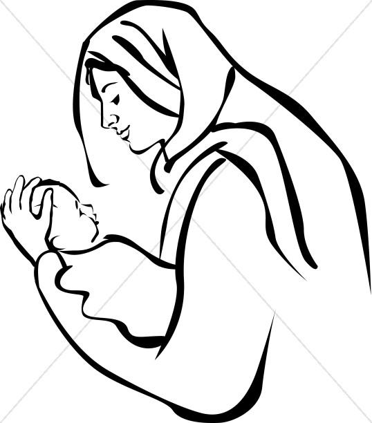 538x612 Mary Holding Baby Jesus Epiphany Clipart