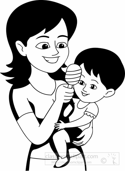 401x550 Mother And Baby Clipart Black And White