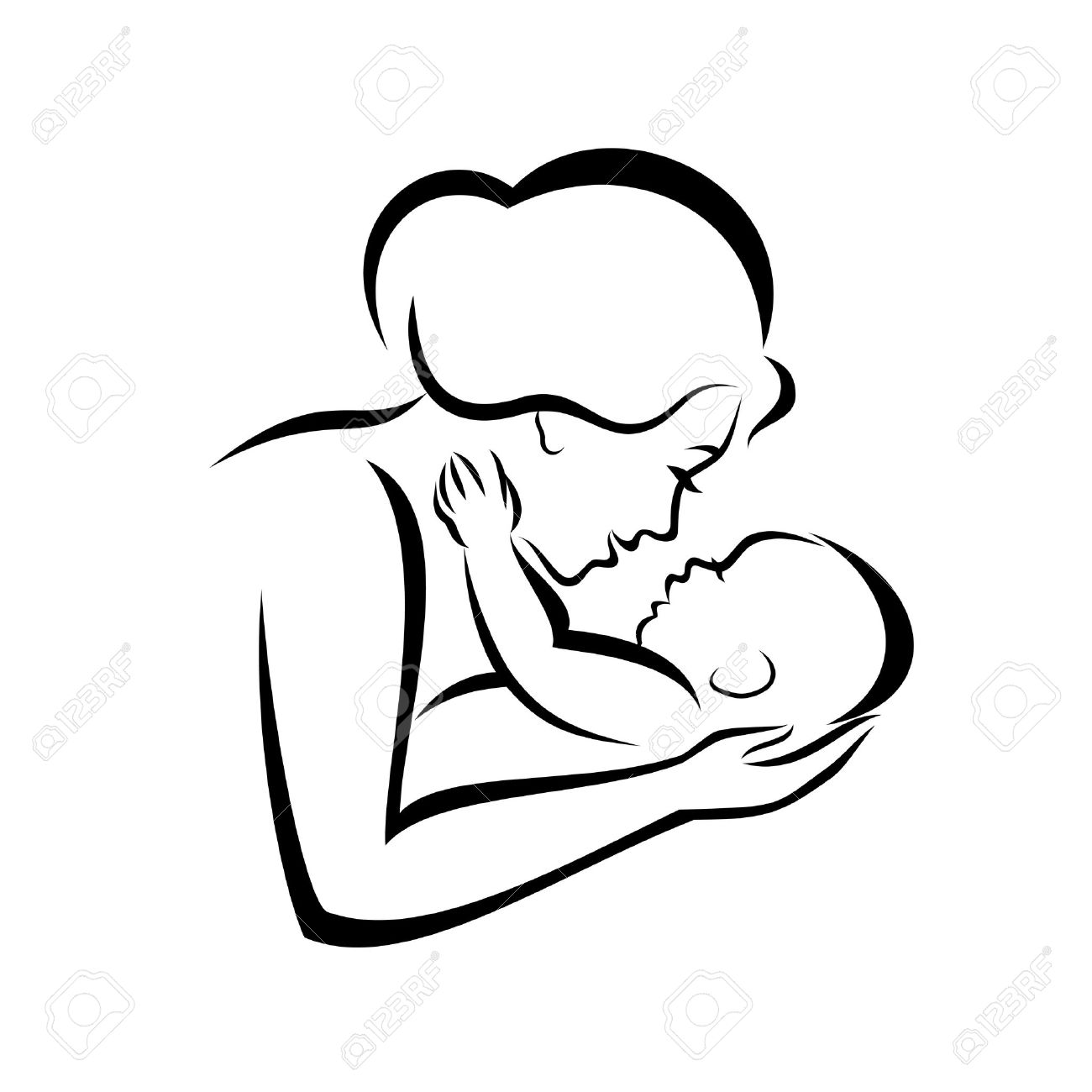 1300x1300 Mother And Baby Stylized Vector Symbol Royalty Free Cliparts