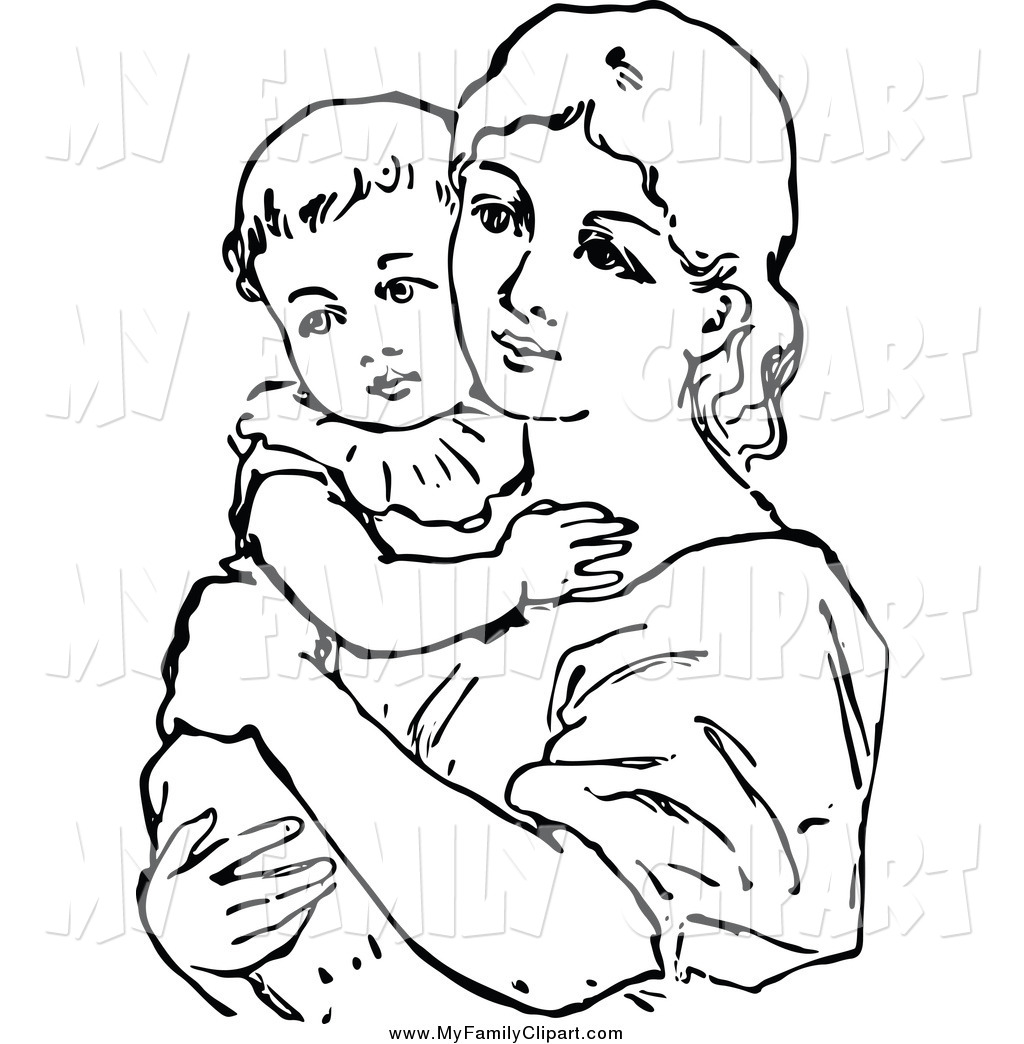 1024x1044 Mother And Baby Clipart Black And White