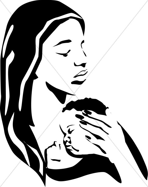 485x612 Mother Holding Sleeping Baby Bw Mother's Day Clipart