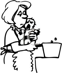 255x300 Mother Holding A Crying Baby And Cooking Food