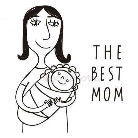 450x450 Mother Holding A Baby Sketch Stock Vector Coline