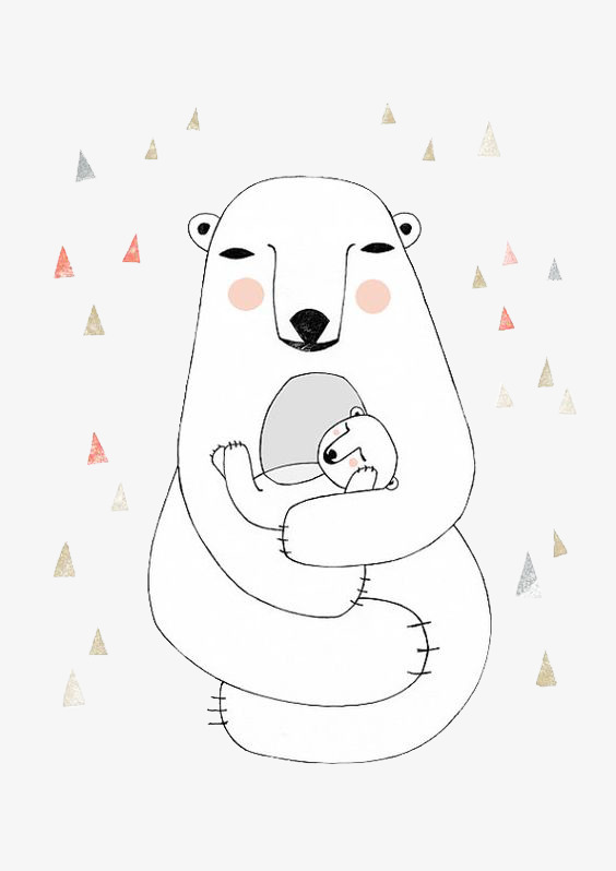 564x798 Bear Mom Holding Baby, White, Lazy Bear, Cartoon Png And Psd File