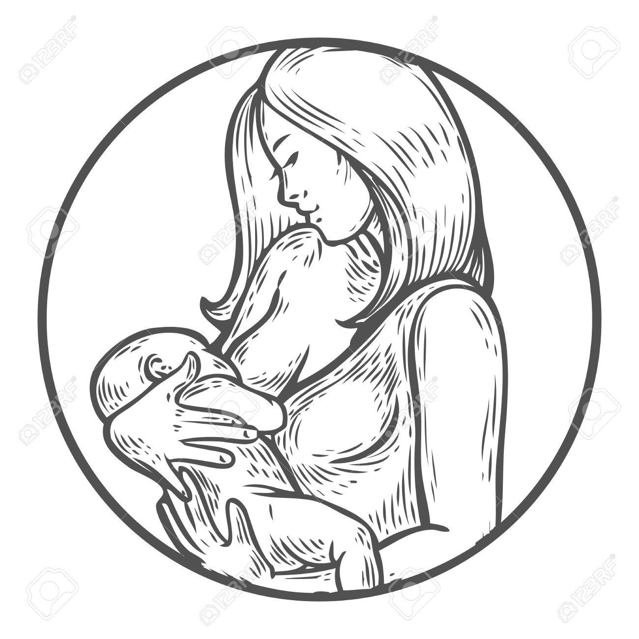 1300x1300 Woman Breastfeeding Baby, Mother Holding Newborn Baby In Arms