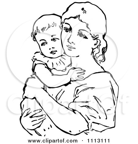 450x470 Clipart Vintage Black And White Mother Holding Her Baby
