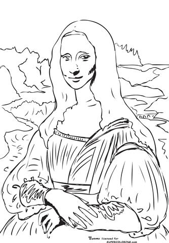 334x480 Mona Lisa (La Gioconda) By Leonardo Da Vinci Coloring Page Free