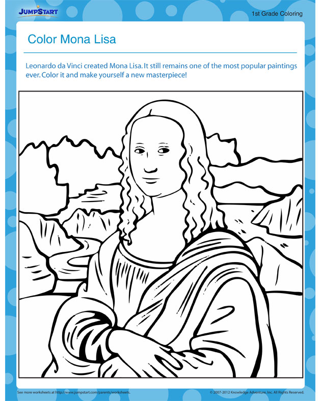 630x788 Mona Lisa Coloring Page Art Masterpiece 4th Grade Modern