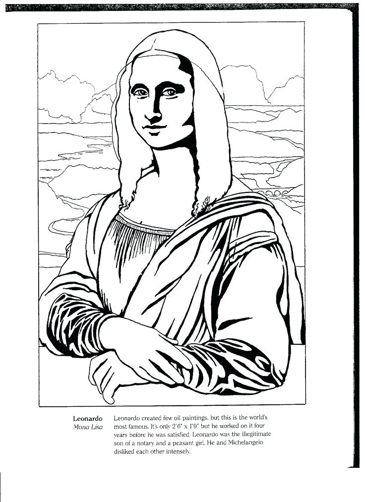 736x1012 Mona Lisa Coloring Pages Mona Lisa Colouring Sheets Genesisar.co