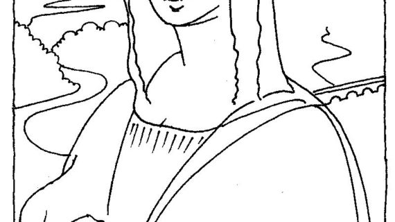 570x320 Mona Lisa Line Drawing Lovely Mona Lisa Coloring Page 73