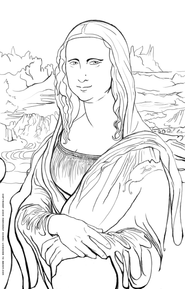 640x995 Free Art History Coloring Pages Art History, Mona Lisa And Lisa