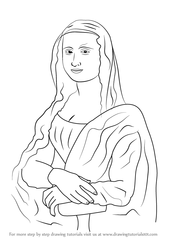 597x844 Learn How To Draw Mona Lisa (Famous Paintings) Step By Step