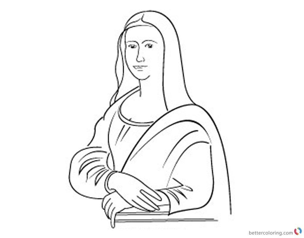 Increíble Mona Lisa Para Colorear Aprendizaje Encantado Ilustración ...