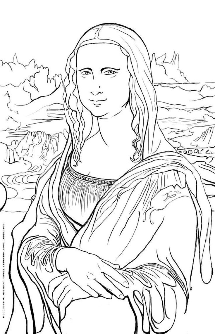 735x1143 Free Art History Coloring Pages Mona Lisa, Art History And Free