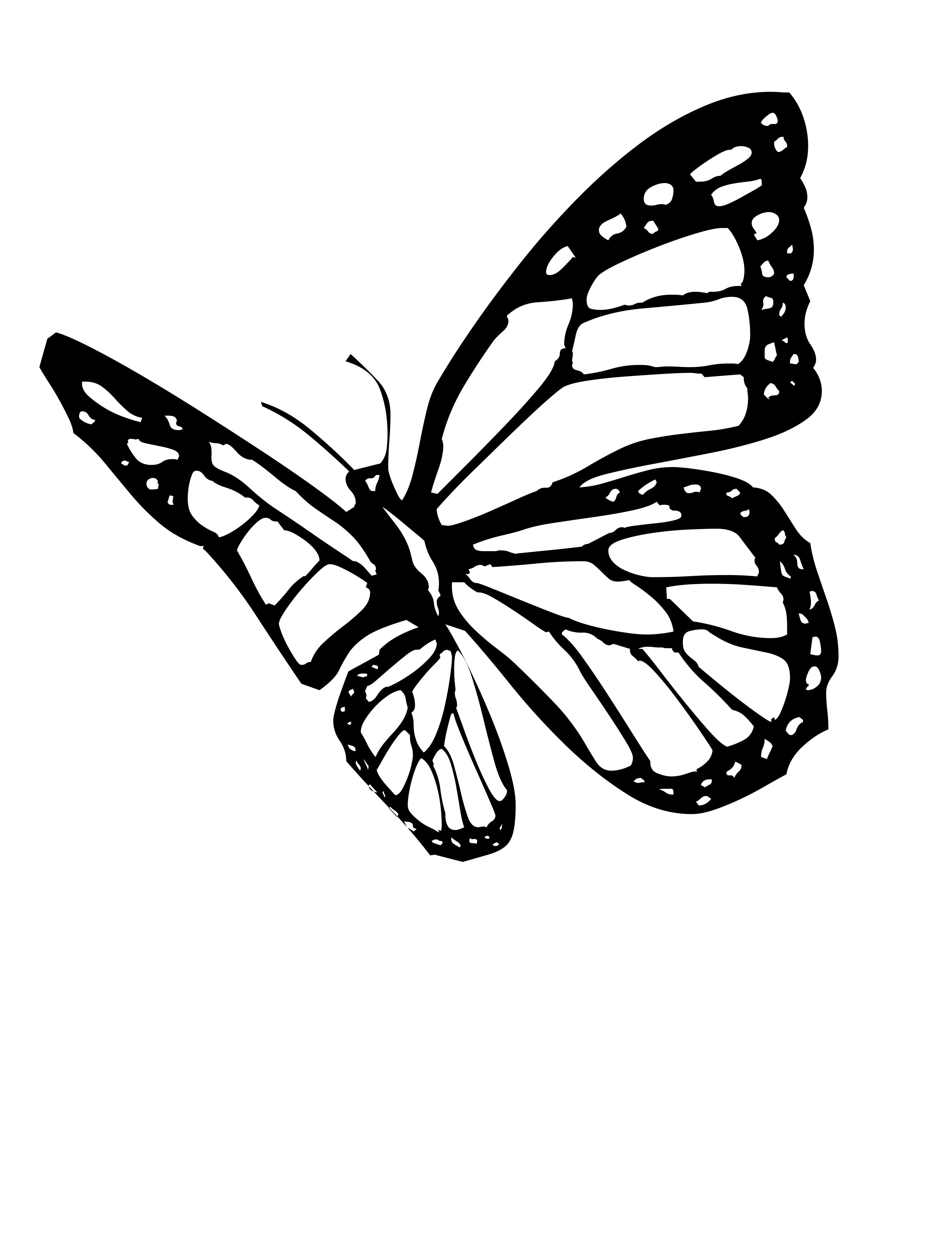 2550x3300 Butterfly Line Drawing Monarch Butterfly Line Drawing